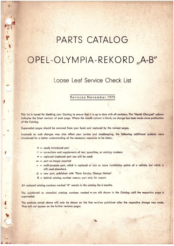 Olympia Rekord A B Spareparts Catalog 1